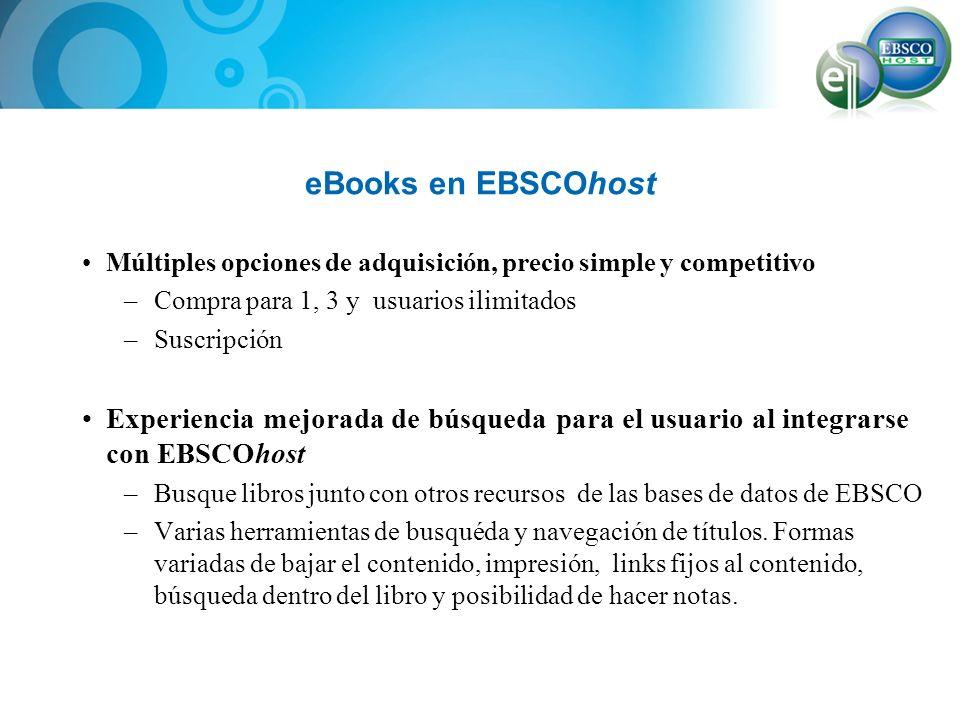 eBooks en EBSCOhost Múltiples opciones de adquisición, precio simple y competitivo. Compra para 1, 3 y usuarios ilimitados.