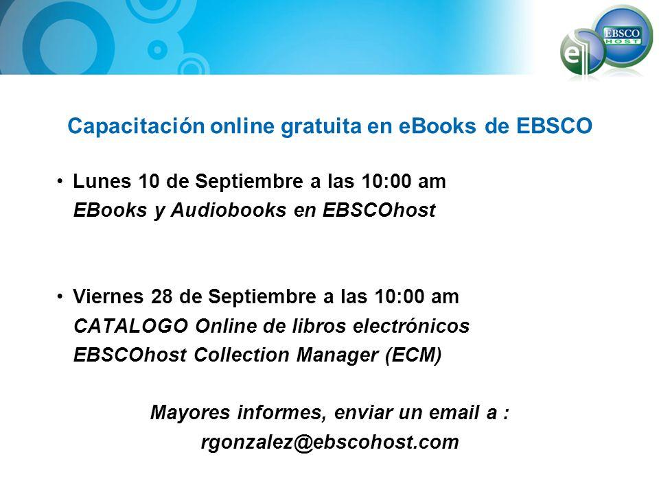 Capacitación online gratuita en eBooks de EBSCO