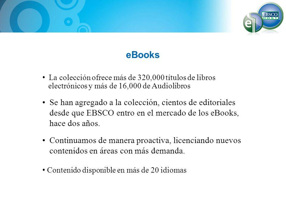 eBooks La colección ofrece más de 320,000 títulos de libros. electrónicos y más de 16,000 de Audiolibros.
