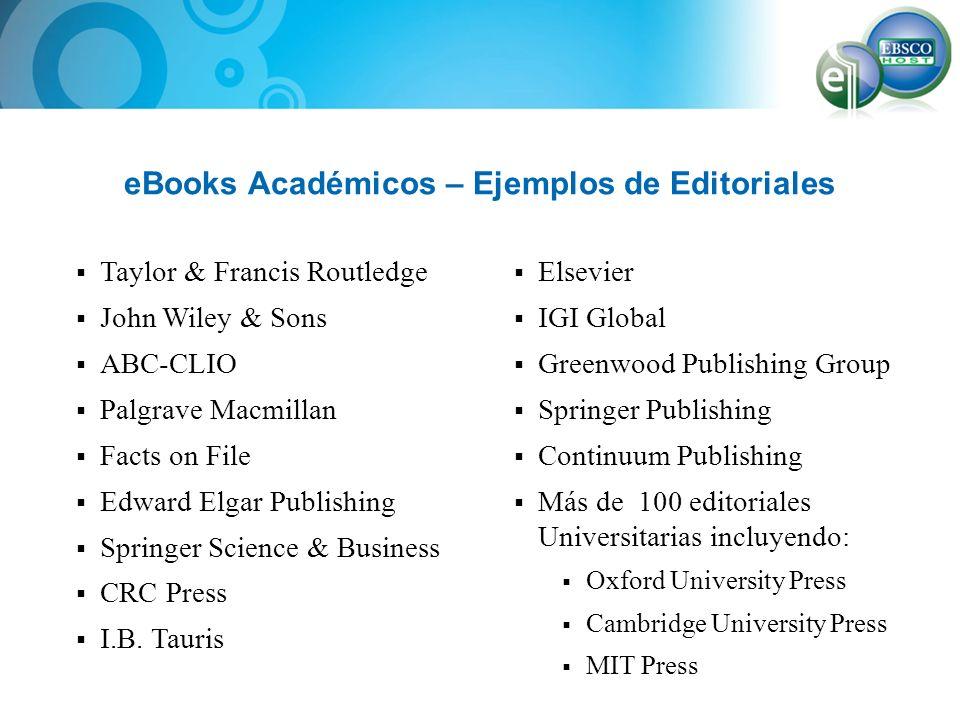 eBooks Académicos – Ejemplos de Editoriales