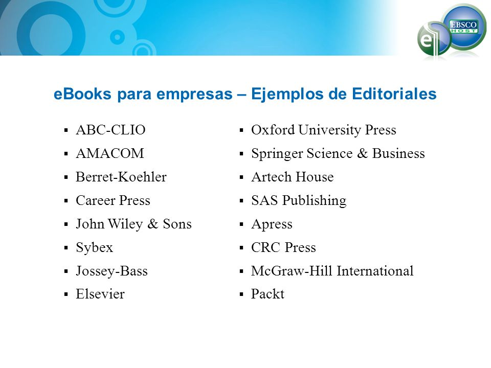 eBooks para empresas – Ejemplos de Editoriales