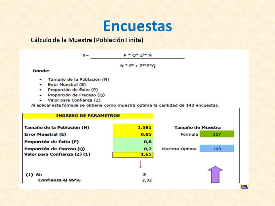 Encuestas Cálculo de la Muestra (Población Finita)