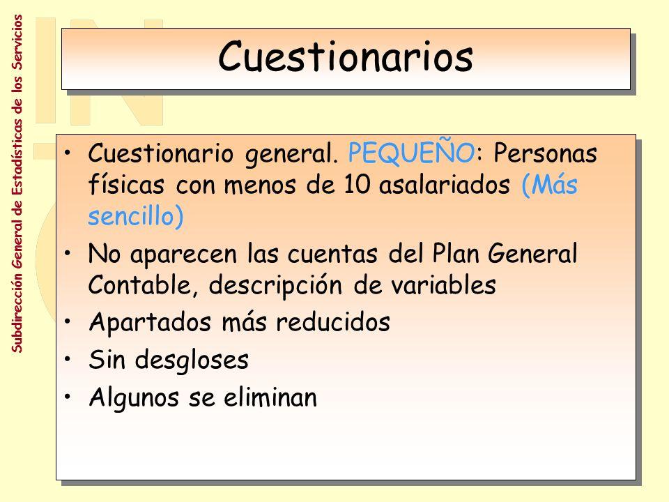 Cuestionarios Cuestionario general. PEQUEÑO: Personas físicas con menos de 10 asalariados (Más sencillo)
