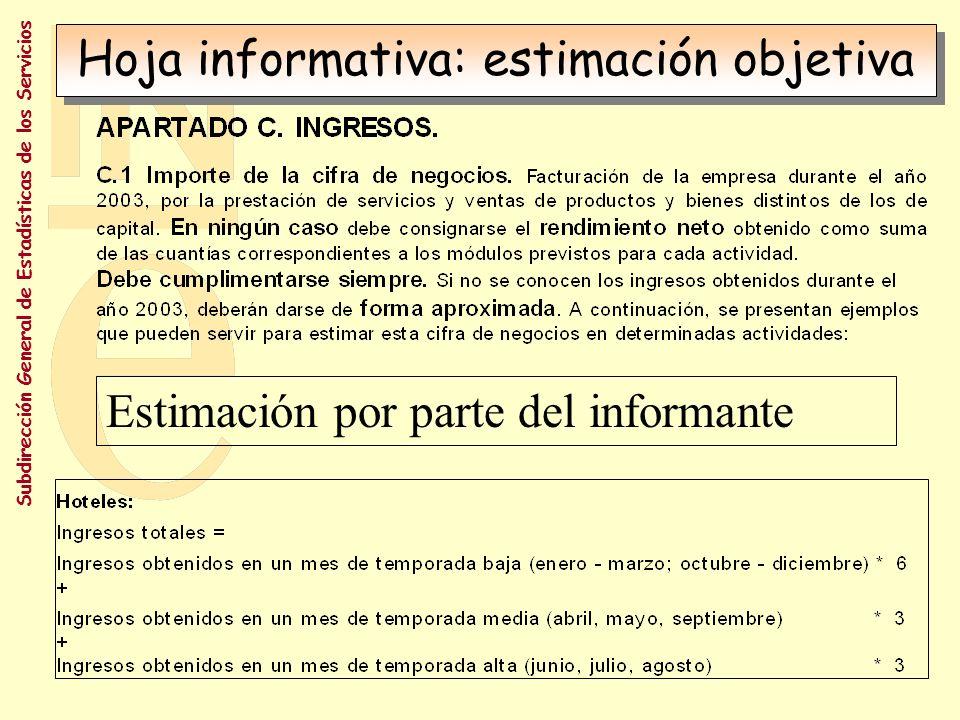 Hoja informativa: estimación objetiva