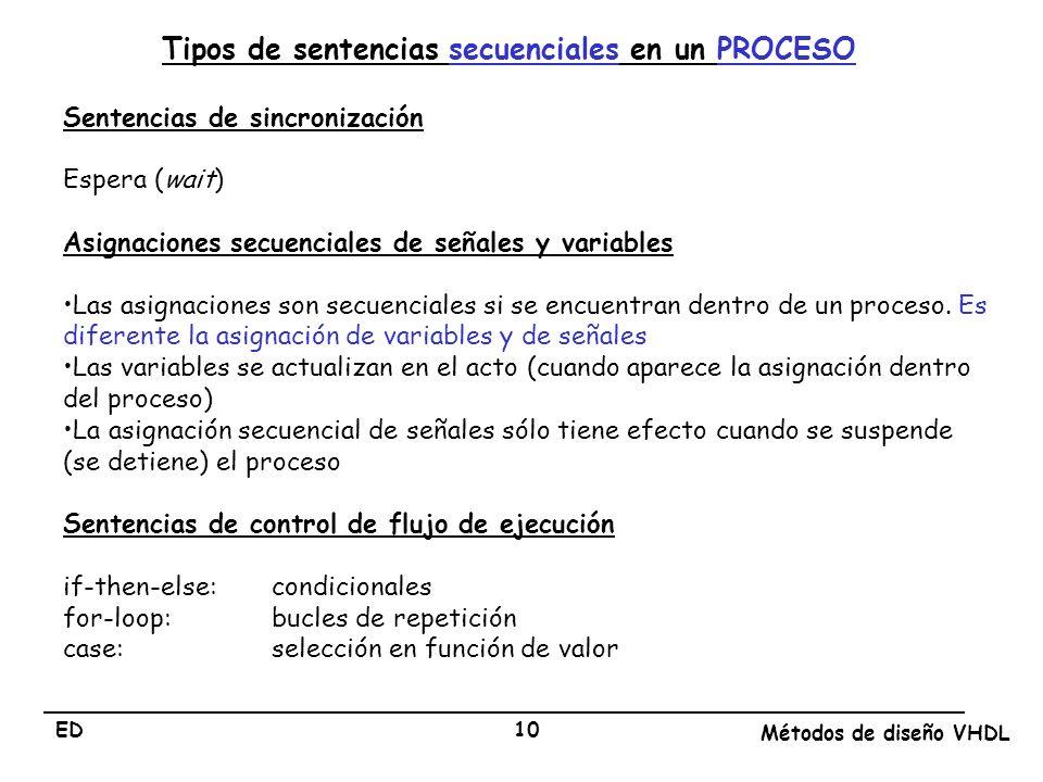 Tipos de sentencias secuenciales en un PROCESO