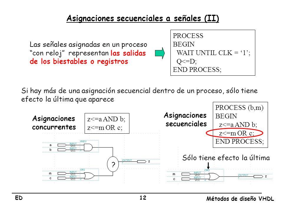 Asignaciones secuenciales a señales (II)
