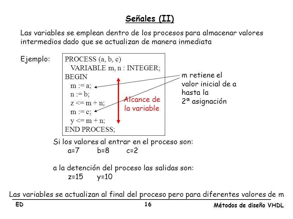 Señales (II) Las variables se emplean dentro de los procesos para almacenar valores intermedios dado que se actualizan de manera inmediata.
