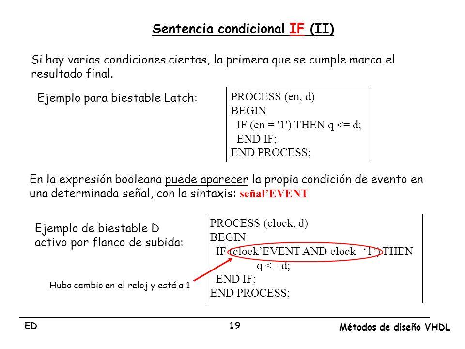 Sentencia condicional IF (II)