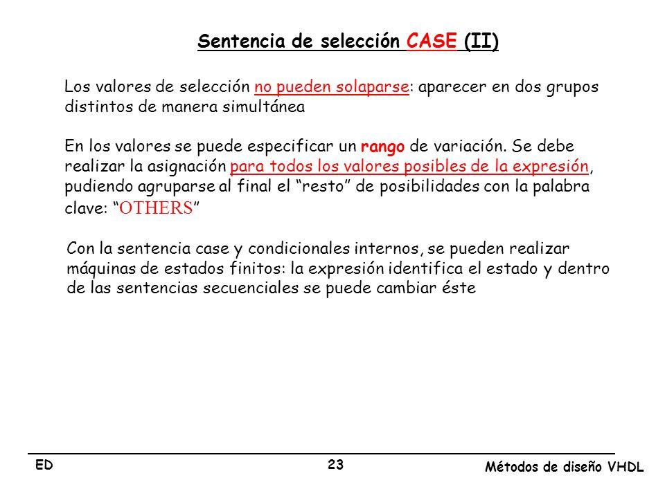 Sentencia de selección CASE (II)
