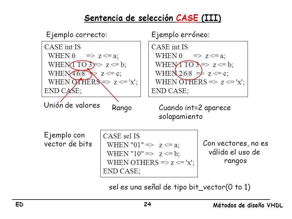 Sentencia de selección CASE (III)