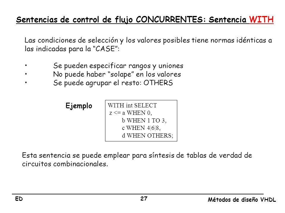 Sentencias de control de flujo CONCURRENTES: Sentencia WITH