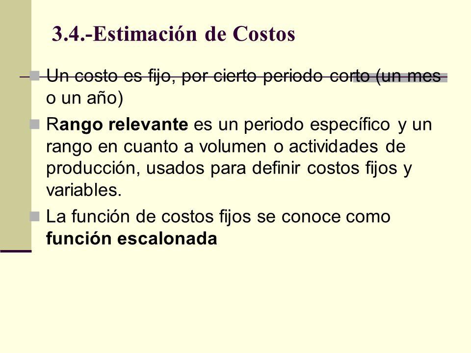 3.4.-Estimación de Costos Un costo es fijo, por cierto periodo corto (un mes o un año)
