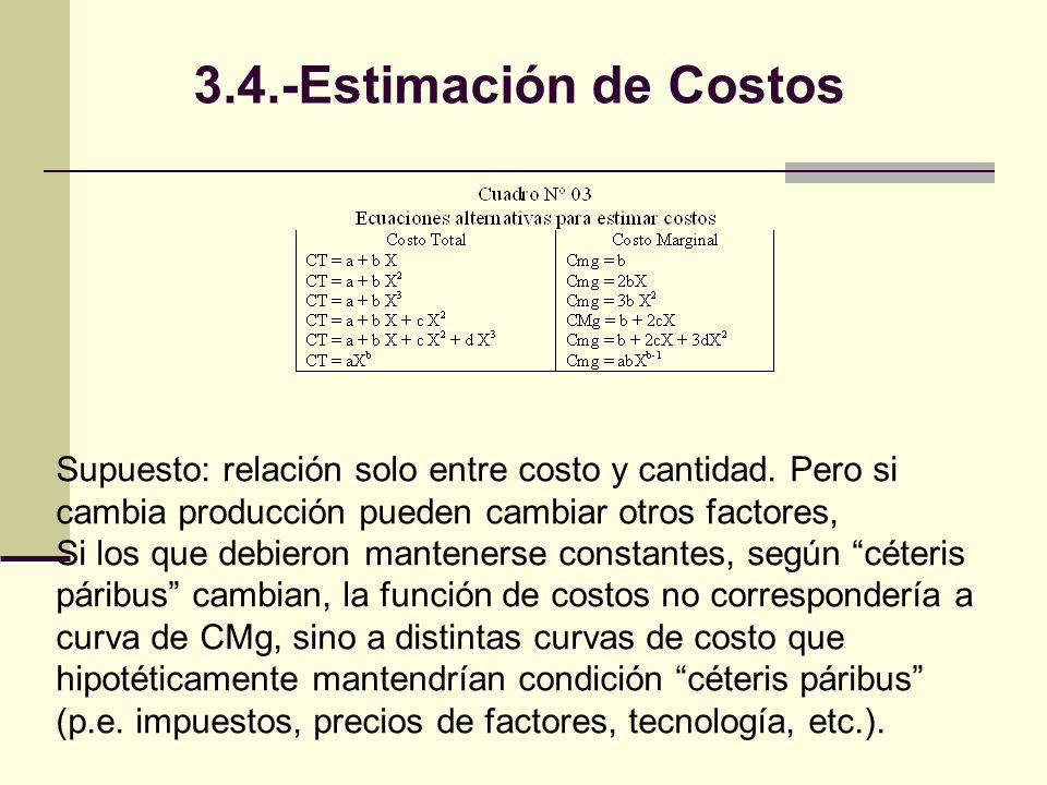 3.4.-Estimación de Costos Supuesto: relación solo entre costo y cantidad. Pero si cambia producción pueden cambiar otros factores,