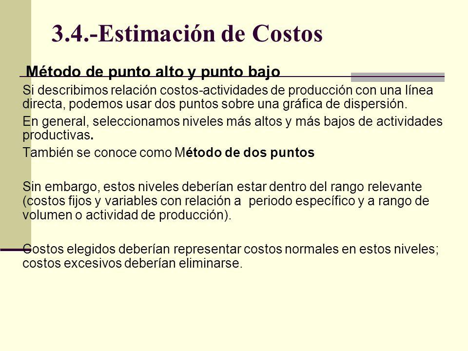 3.4.-Estimación de Costos Método de punto alto y punto bajo