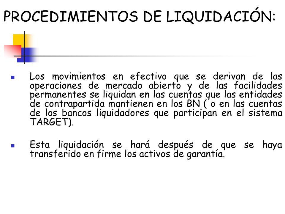 PROCEDIMIENTOS DE LIQUIDACIÓN: