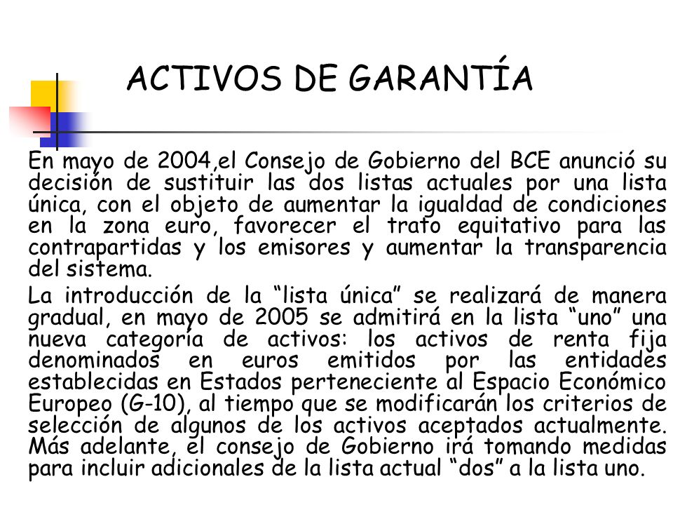 ACTIVOS DE GARANTÍA