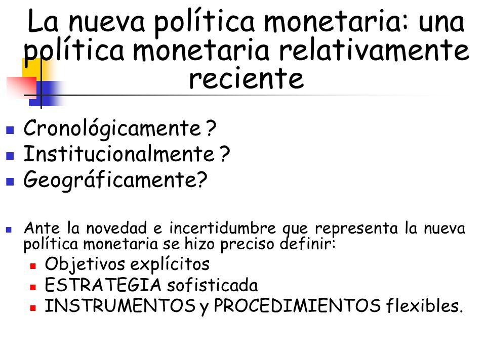 La nueva política monetaria: una política monetaria relativamente reciente