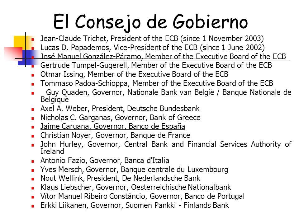 El Consejo de GobiernoJean-Claude Trichet, President of the ECB (since 1 November 2003)