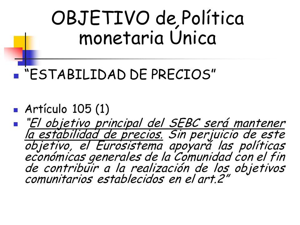 OBJETIVO de Política monetaria Única
