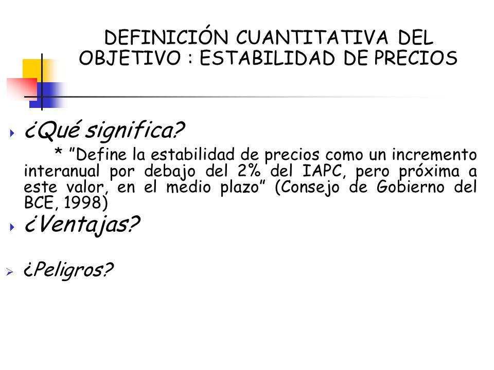 DEFINICIÓN CUANTITATIVA DEL OBJETIVO : ESTABILIDAD DE PRECIOS