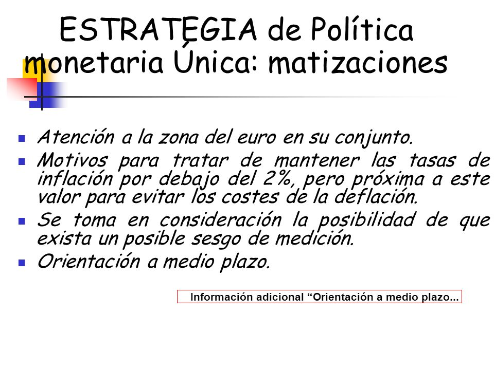 ESTRATEGIA de Política monetaria Única: matizaciones