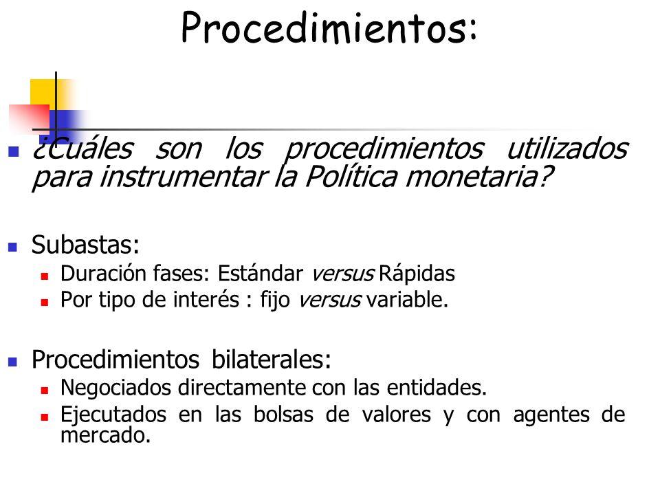 Procedimientos: ¿Cuáles son los procedimientos utilizados para instrumentar la Política monetaria Subastas: