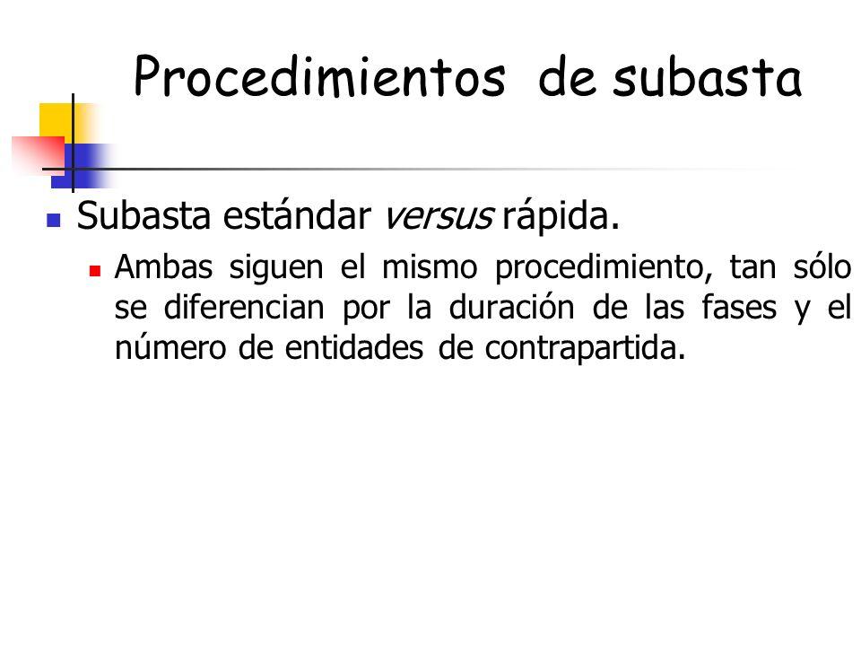 Procedimientos de subasta