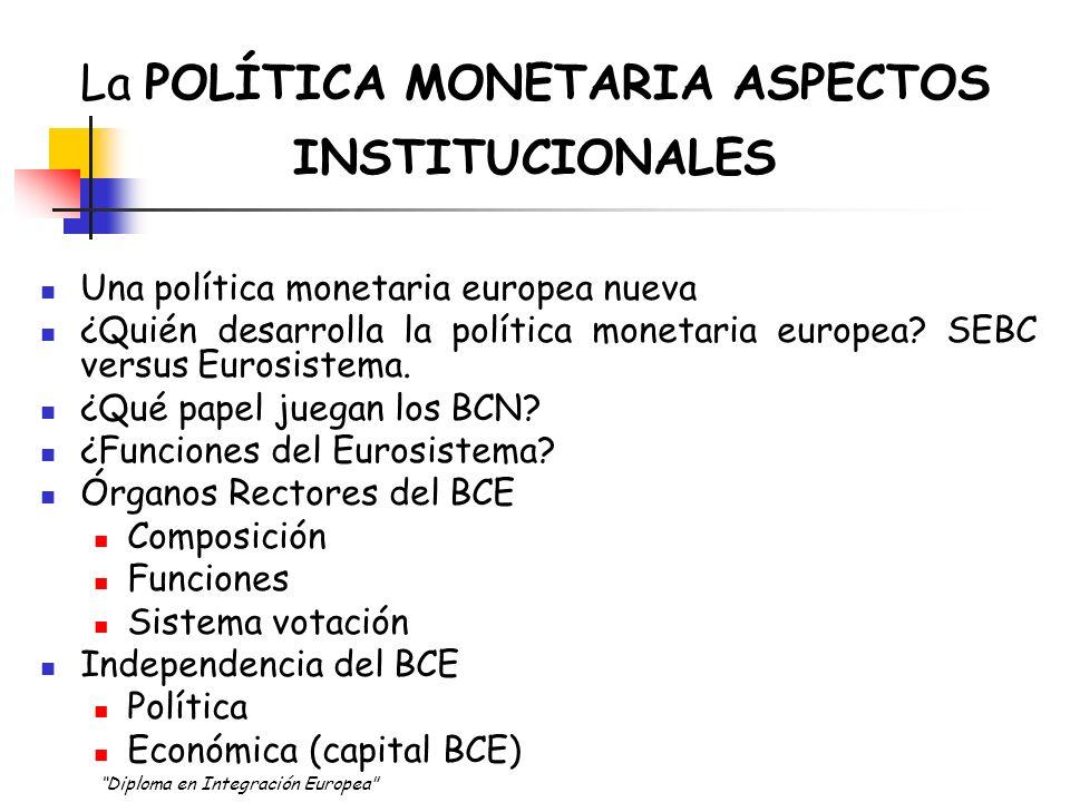 La POLÍTICA MONETARIA ASPECTOS INSTITUCIONALES