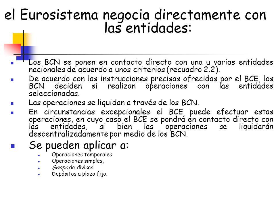 el Eurosistema negocia directamente con las entidades: