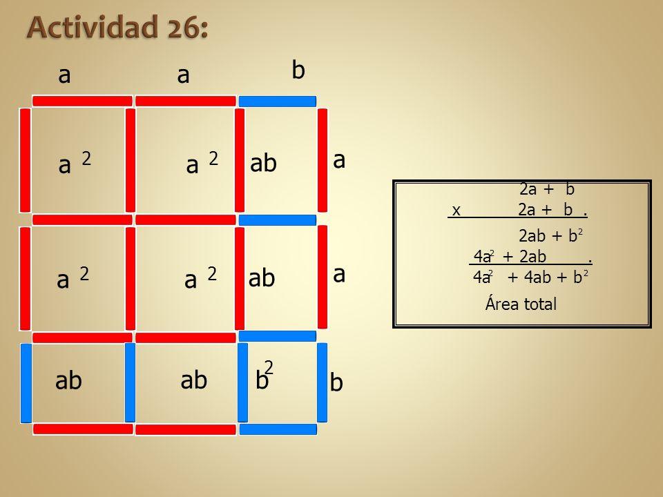 Actividad 26: b a a a a ab a a a ab a b ab ab b 2 2 2 2 2 2a + b