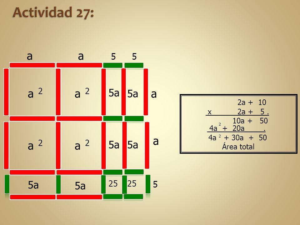 Actividad 27: a a a a a 5a 5a 5a 5a 5a 5a 5 2 2 2 2 25 25 2a + 10