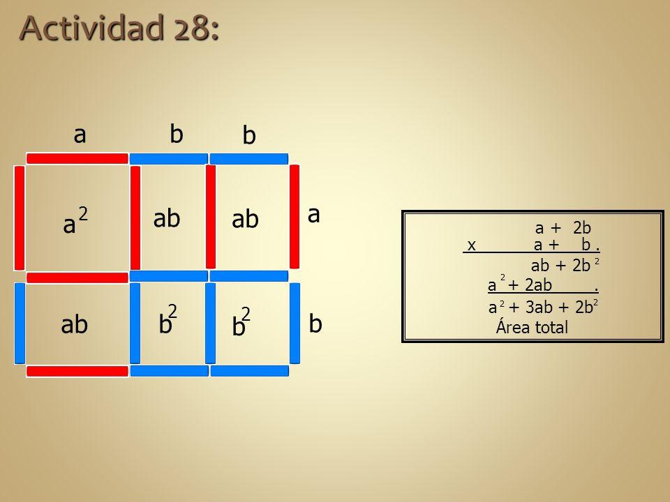 Actividad 28: a b b a a ab ab b b ab b 2 2 2 a + 2b x a + b . ab + 2b