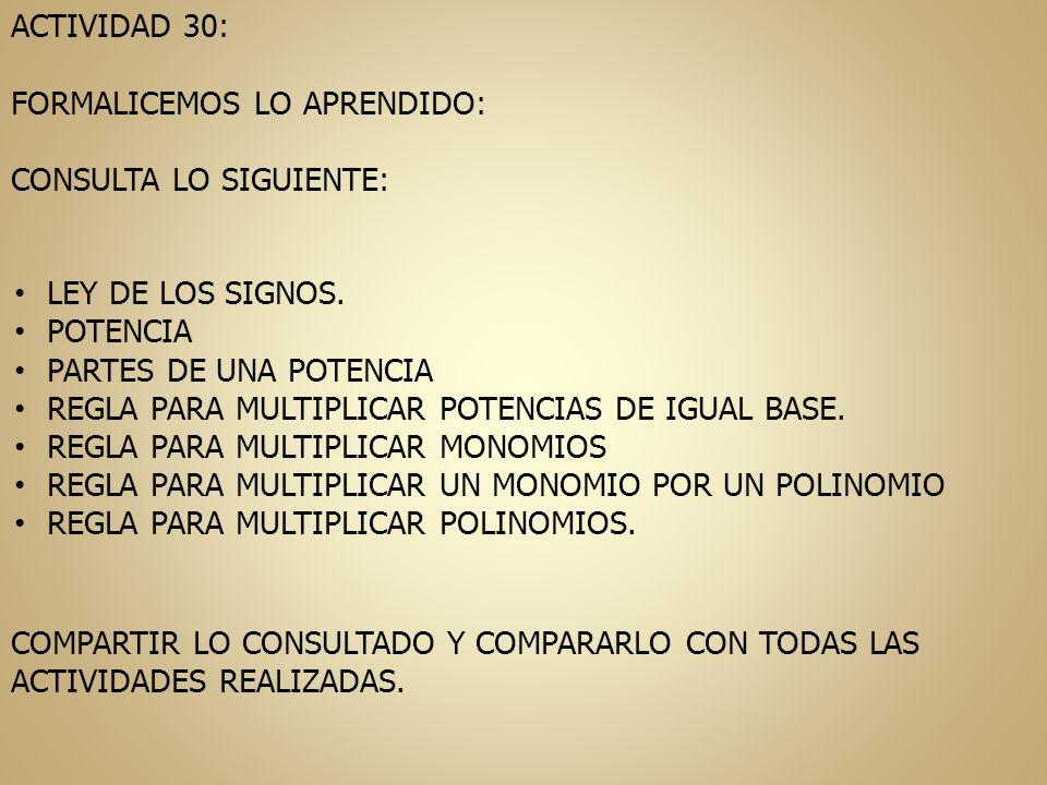 ACTIVIDAD 30: FORMALICEMOS LO APRENDIDO: CONSULTA LO SIGUIENTE: LEY DE LOS SIGNOS. POTENCIA. PARTES DE UNA POTENCIA.