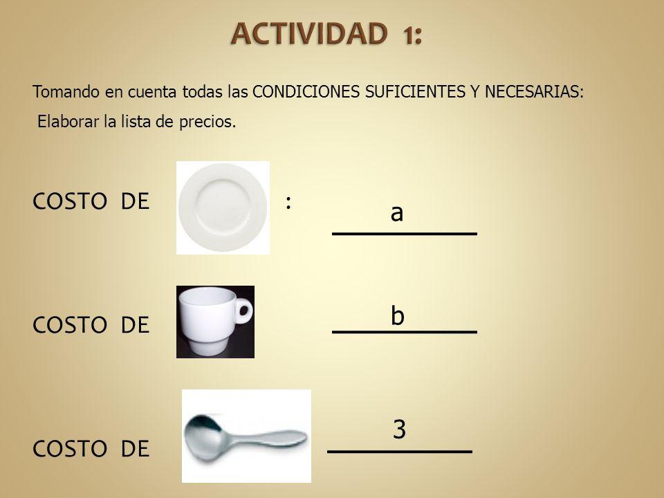 ACTIVIDAD 1: COSTO DE : COSTO DE : COSTO DE : a b 3
