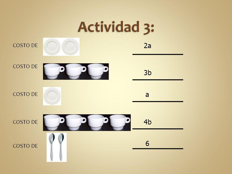 Actividad 3: COSTO DE : COSTO DE : COSTO DE : COSTO DE : COSTO DE : 2a 3b a 4b 6