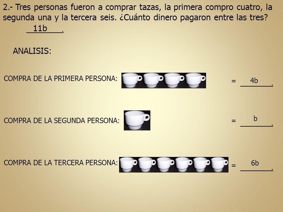 2.- Tres personas fueron a comprar tazas, la primera compro cuatro, la segunda una y la tercera seis. ¿Cuánto dinero pagaron entre las tres