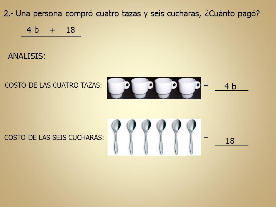 2.- Una persona compró cuatro tazas y seis cucharas, ¿Cuánto pagó