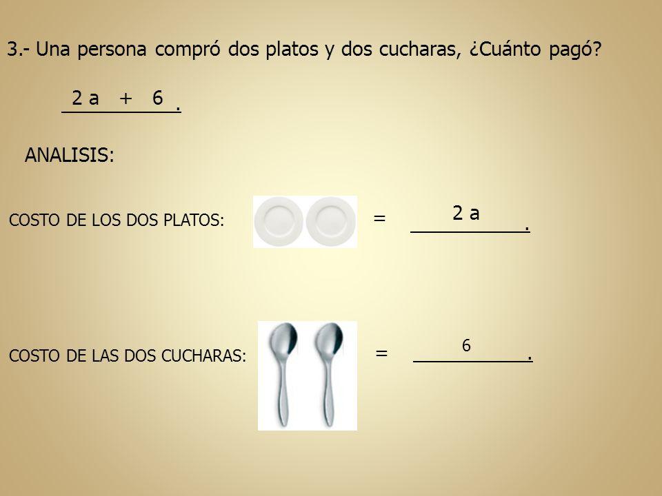 3.- Una persona compró dos platos y dos cucharas, ¿Cuánto pagó