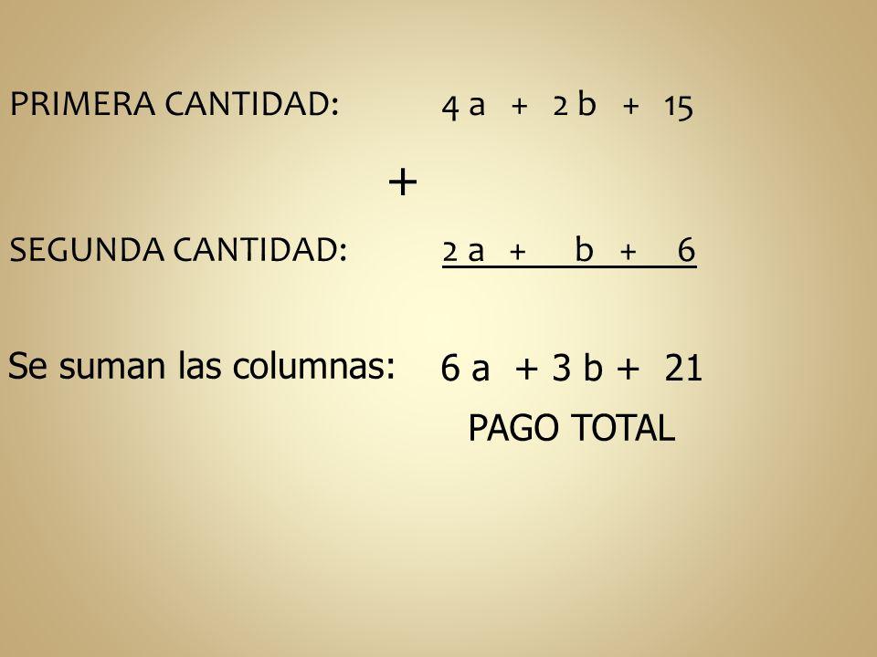 + PRIMERA CANTIDAD: 4 a + 2 b + 15 SEGUNDA CANTIDAD: 2 a + b + 6