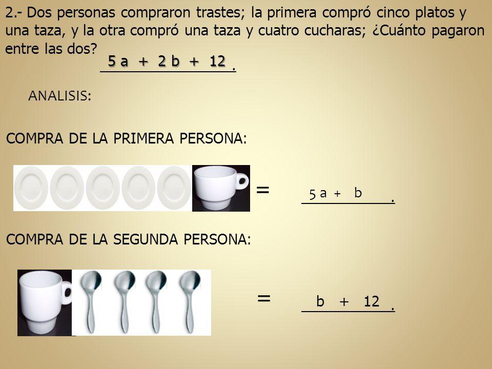2.- Dos personas compraron trastes; la primera compró cinco platos y una taza, y la otra compró una taza y cuatro cucharas; ¿Cuánto pagaron entre las dos