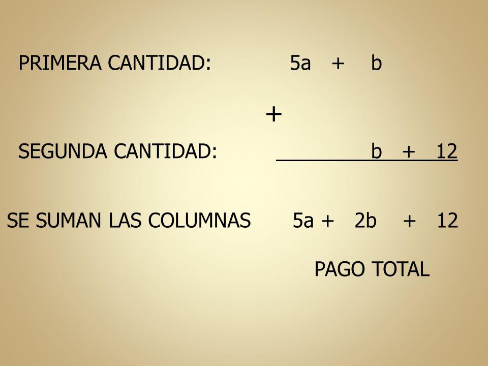 + PRIMERA CANTIDAD: 5a + b SEGUNDA CANTIDAD: b + 12