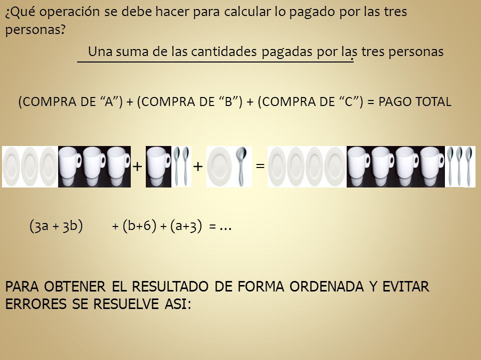 + + ¿Qué operación se debe hacer para calcular lo pagado por las tres