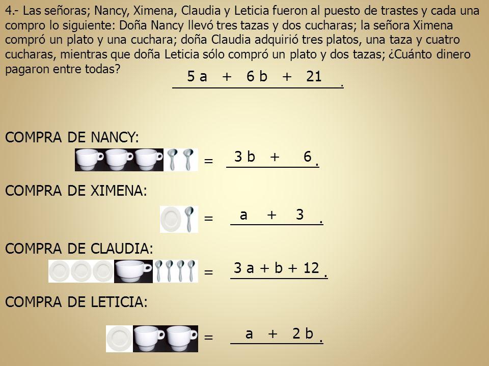 5 a + 6 b + 21 COMPRA DE NANCY: 3 b + 6 = . COMPRA DE XIMENA: a + 3 =