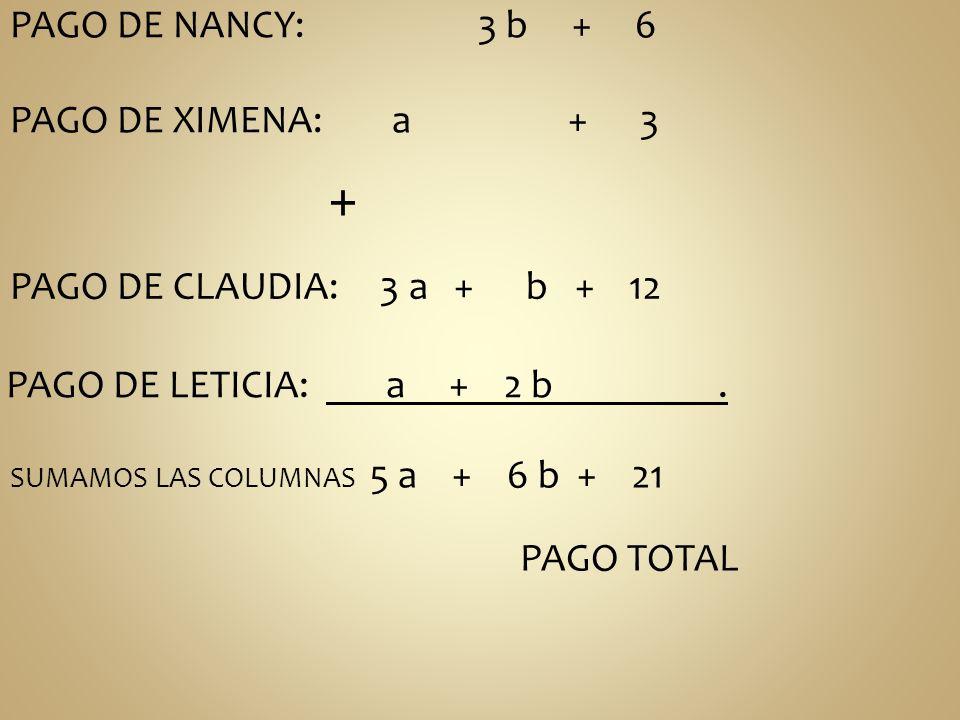 + PAGO DE NANCY: 3 b + 6 PAGO DE XIMENA: a + 3