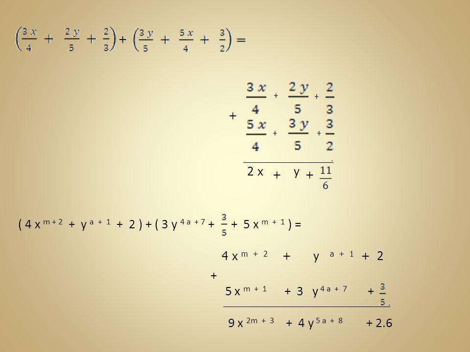 ( 4 x m + 2 + y a + 1 + 2 ) + ( 3 y 4 a + 7 + + 5 x m + 1 ) = +