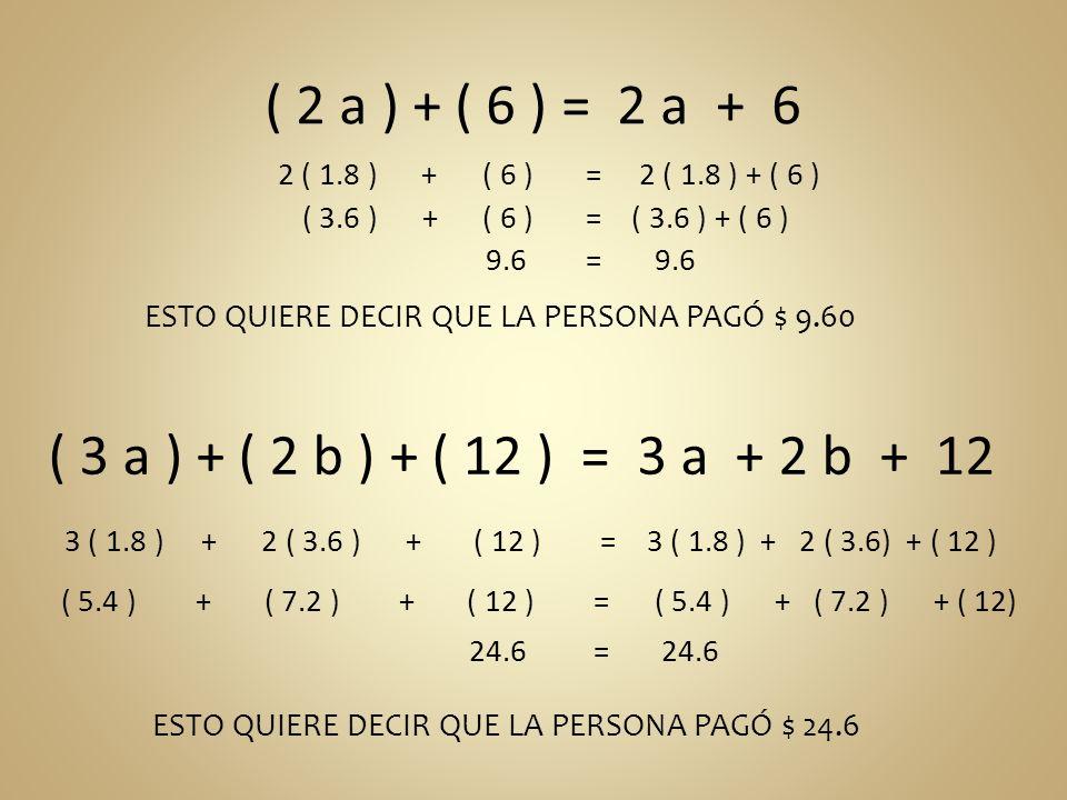 ( 2 a ) + ( 6 ) = 2 a + 6 ( 3 a ) + ( 2 b ) + ( 12 ) = 3 a + 2 b + 12