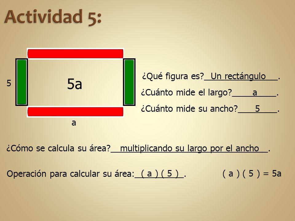 Actividad 5: 5a ¿Qué figura es _______________. Un rectángulo 5