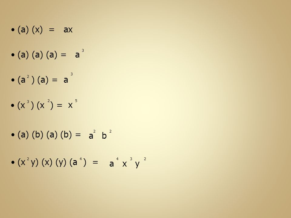 (a) (x) = ax (a) (a) (a) = a a (a ) (a) = (x ) (x ) = x