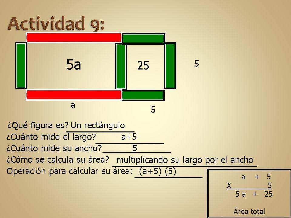 Actividad 9: 5a 25 5 a 5 ¿Qué figura es Un rectángulo