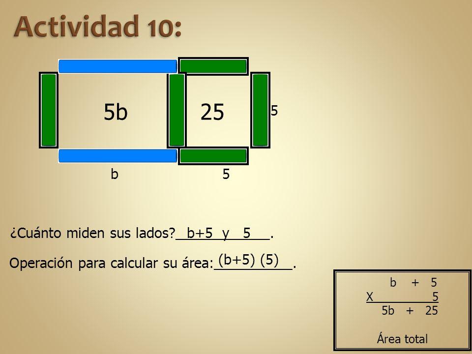 Actividad 10: 5b 25 5 b 5 ¿Cuánto miden sus lados ____________.